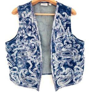 Chico's bleached frayed paisley denim vest 3 16 XL